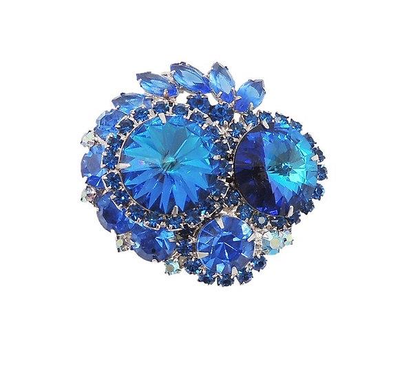 1960s Delizza & Elster Blue Rivoli Rhinestone Brooch