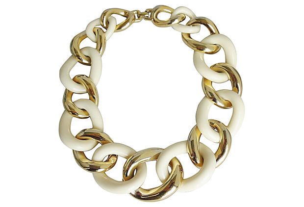 1980s Givenchy White & Goldtone Collar Necklace