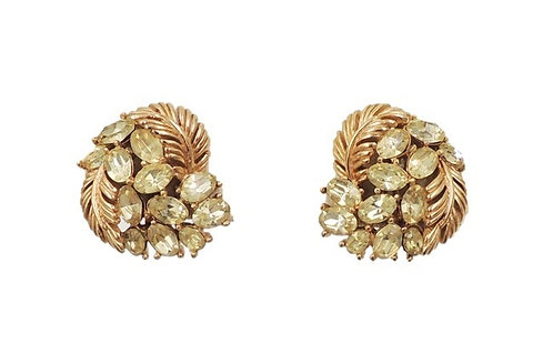 1960s Trifari Goldtone Faux-Citrine Clip Back Earrings