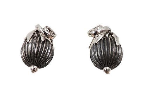 1950s Napier Book Piece Silvertone Ribbed Cumquat Clip Earrings