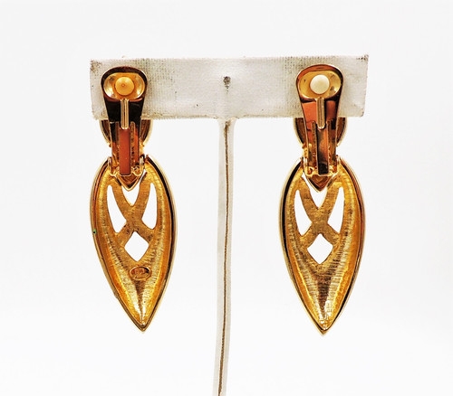 35fb897f187 1980s Courrèges Goldtone Drop Earrings