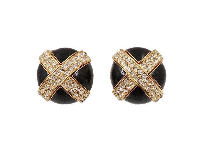 1980s Ciner Black Enamel Pavé X Rhinestone Earrings