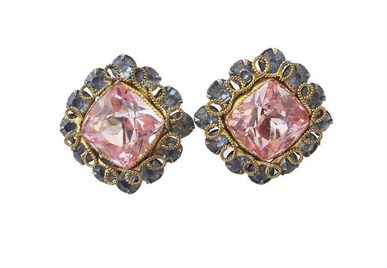 1950s Faux-Peridot & Aquamarine Rhinestone Earrings
