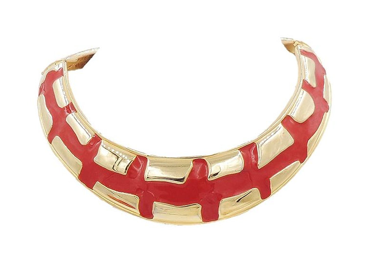 1980s Valentino Modernist Red Enamel Collar Necklace