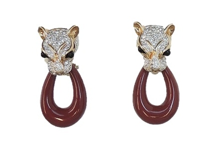 1980s Panetta Panther Earrings
