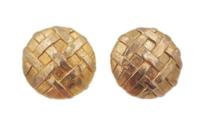 1980s Escada Goldtone Woven Earrings