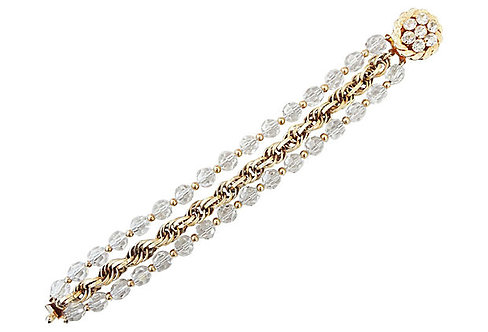 1950s Napier 3-Strand Faceted Glass Bead Bracelet