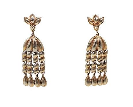 Trifari Goldtone Articulated Fringe Earrings, 1950