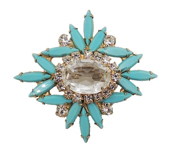 1960s Delizza & Elster Faux-Turquoise & Clear Rhinestone Brooch