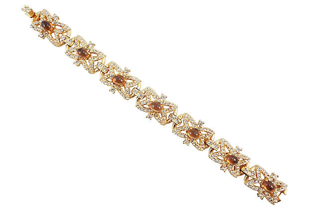 1950s Hattie Carnegie Faux-Topaz Cabochon Bracelet