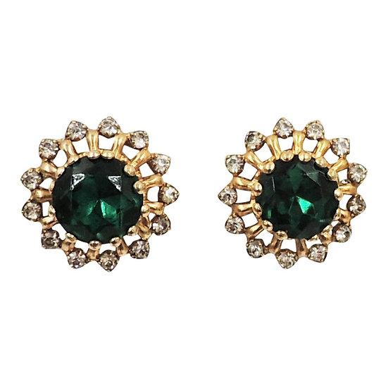 1960s Castlecliff Faux-Emerald Earrings