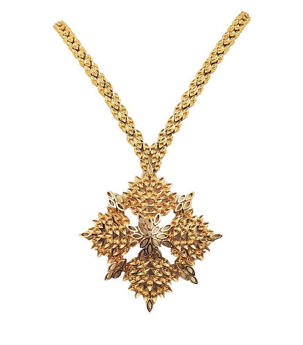 """Monet """"Sonata"""" Goldtone Cut Out Pendant Necklace, 1968"""
