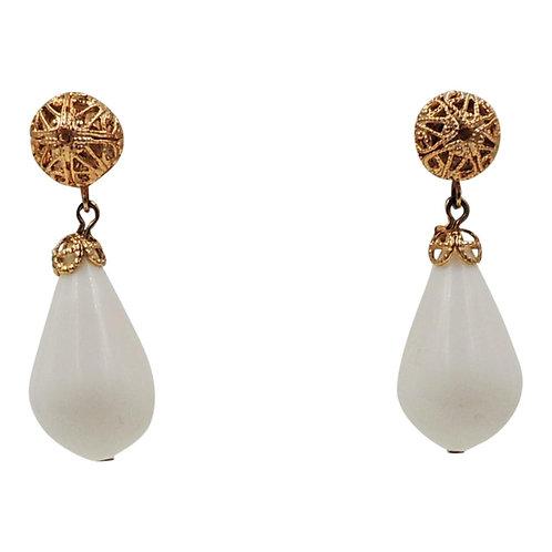 1960s Napier Goldtone & White Resin Drop Earrings