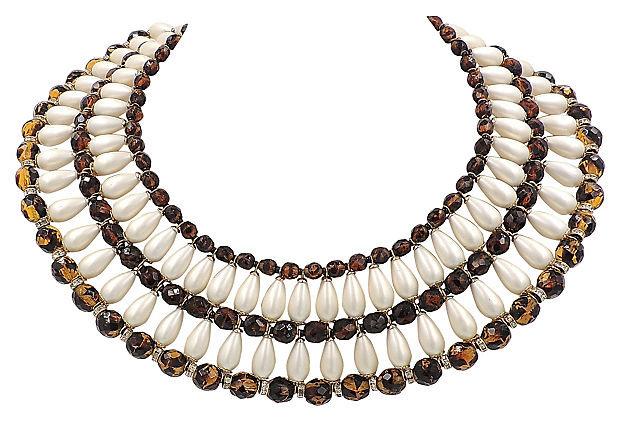 1960s Vendome Faux-Pearl Bib Necklace