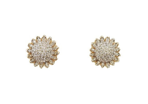 1950s Nettie Rosenstein Pave Flower Clip Earrings