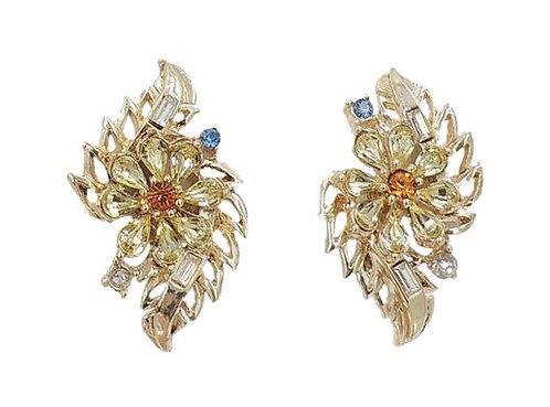 Early 1950s Corocraft Rhinestone Flower Earrings