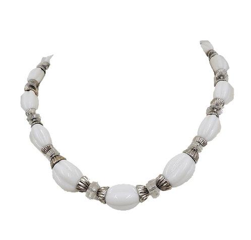 1950s Napier Silvertone White Beaded Necklace