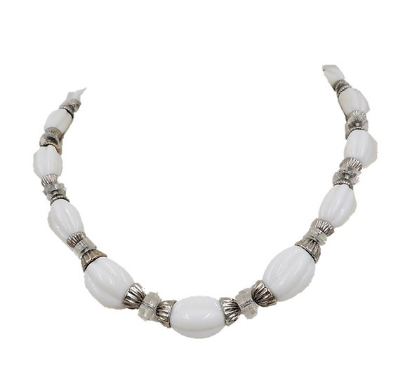 1950s Napier Silvertone White Beaded Necklace