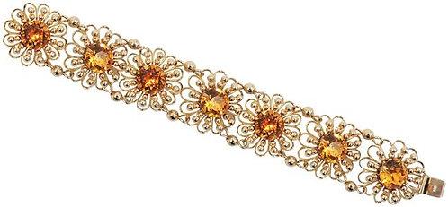 1950s Signed Napier Book Piece Faux-Citrine Flower Link Bracelet