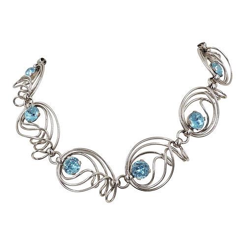 Vintage 1950s Napier Rhodium Plated Faux-Aquamarine Necklace