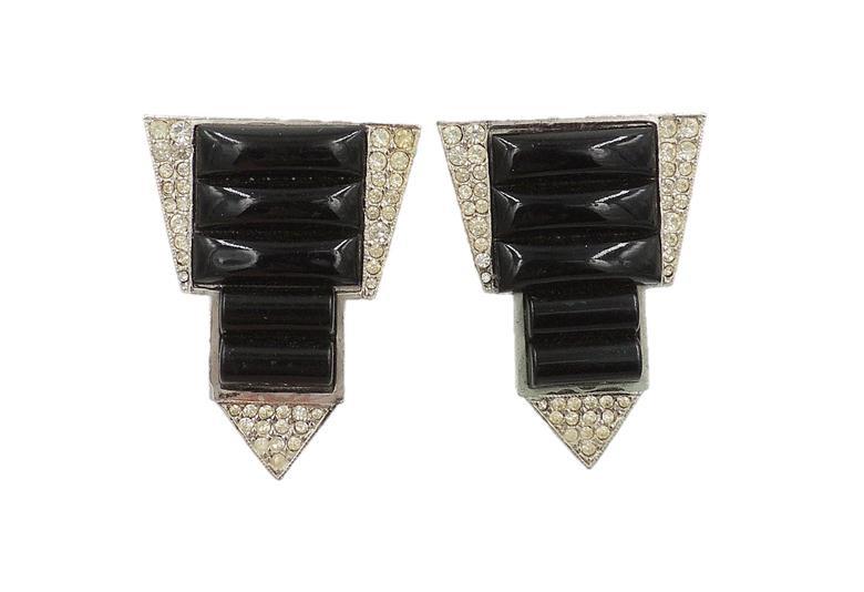 1960s K.J.L. Faux-Onyx & Pavé Rhinestone Fur Clips