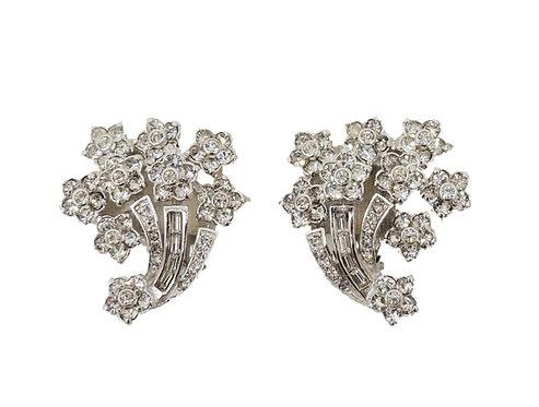 1950s Pennino Rhodium  Plated Clear Rhinestone Floral Spray Clip Earrings