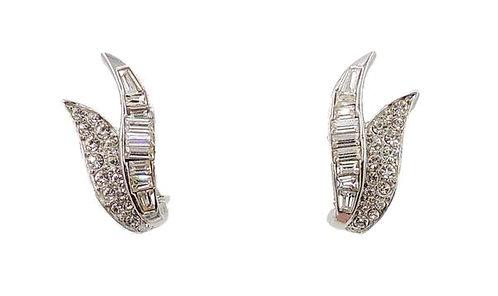 1960s Boucher Rhodium Plated Rhinestone Earrings