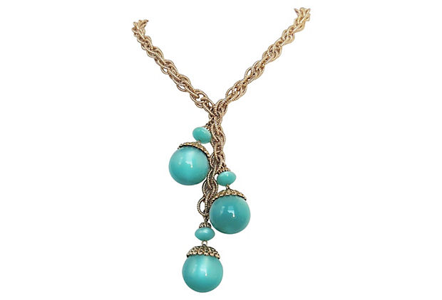 1960s Napier Teal Moonglow Necklace