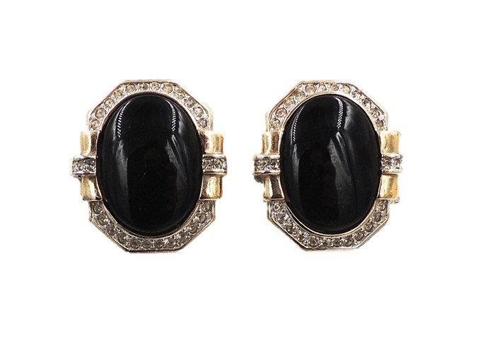 1980s Panetta Faux-Onyx Earrings