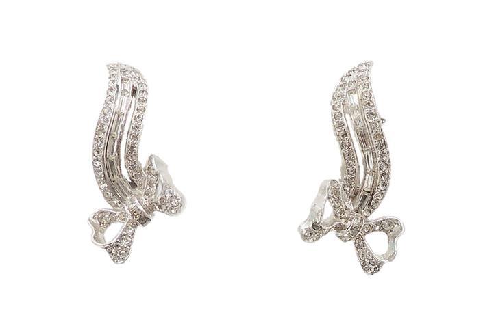 1950s Kramer Rhodium Plated Rhinestone Bow Earrings