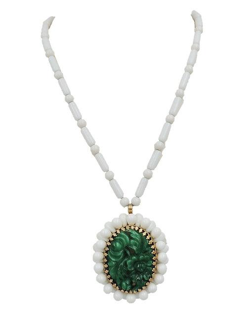 1960s Napier Faux-Jade & White Bead Necklace