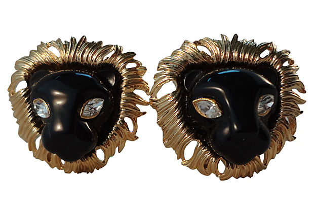 1980s Kenneth Lane Lion Earrings