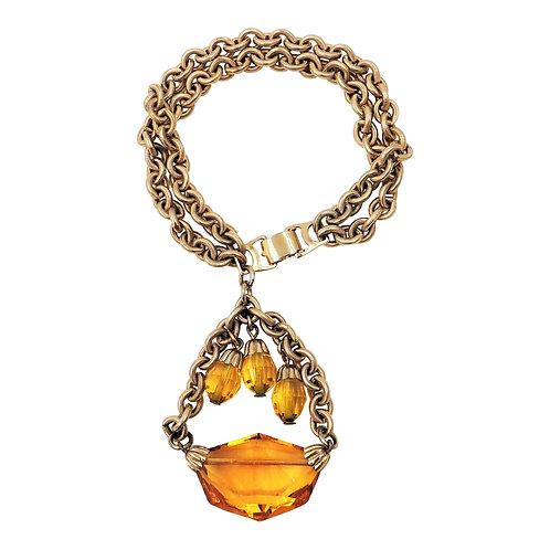 1950s Napier Goldtone & Faux-Citrine Charm Bracelet