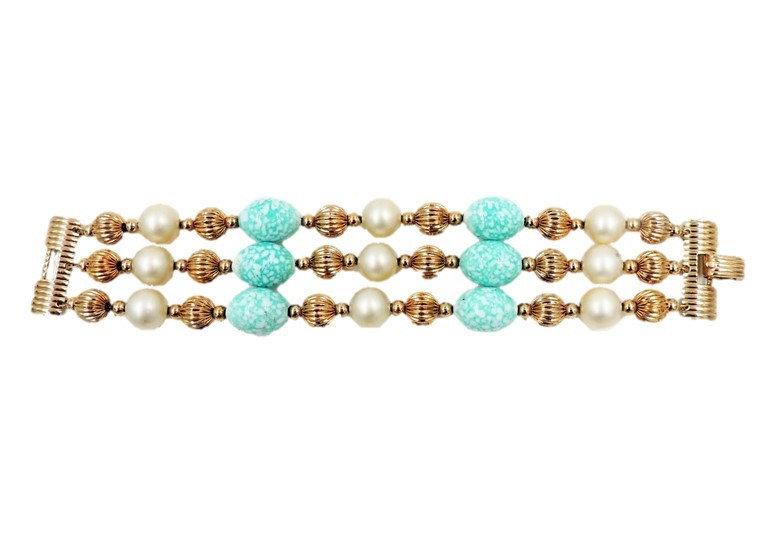 1960s Napier Faux-Pearl & Faux-Turquoise Bead Bracelet