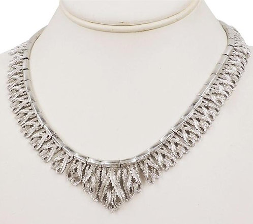 1950s Monet Rhodium Plated Textured Leaves Necklace