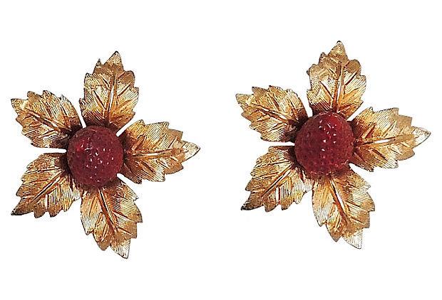 1960s Boucher Enamel Strawberry Earrings