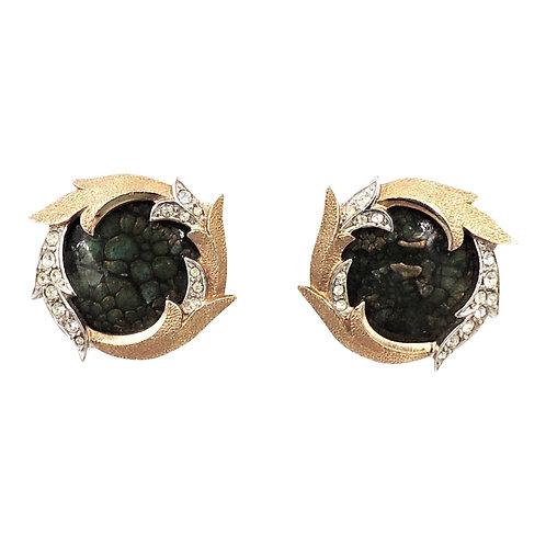 Late 1950s Boucher Goldtone Green Enamel & Rhinestone Earrings