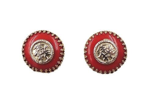 1950s Napier Red Asian Inspired Clip Earrings