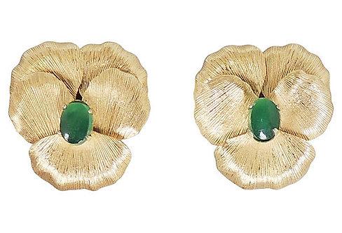 1960s Napier Faux-Jade Rhinestone Pansy Earrings