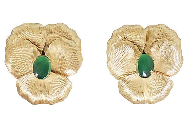 1960s Napier Faux-Jade Rhinestone Pansy Earrings