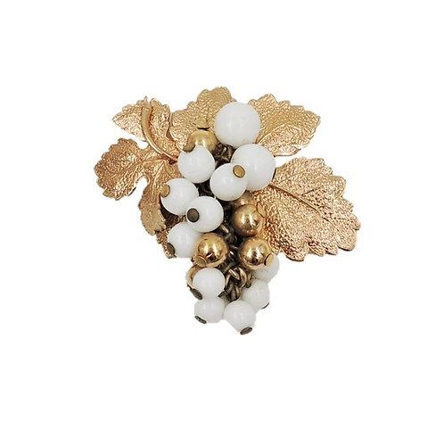1950s Napier Goldtone White Beaded Grape Brooch