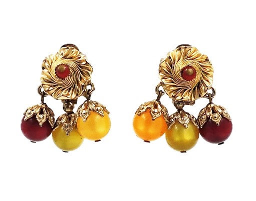 Napier Red, Green & Yellow Moonglow Drops Earrings