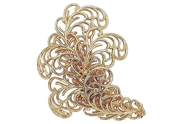"""1960s Napier Book Piece """"Golden Fern"""" Pin"""