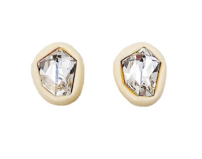 1980s Kenneth Lane White Rhinestone Earrings