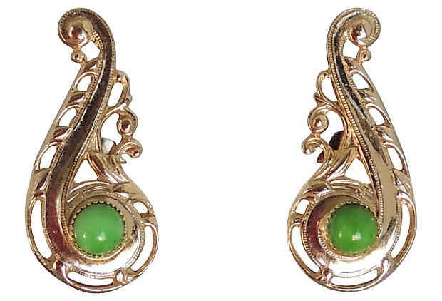 Napier Ad & Book Piece Faux-Jade Rhinestone Cabochon Earrings