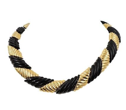 1980s Monet Goldtone & Black Moulded Lucite Collar Necklace
