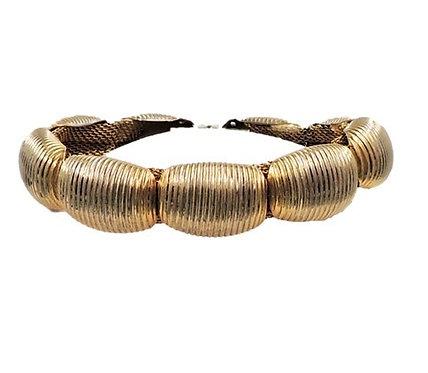 1970s Napier Goldtone Ribbed Bracelet