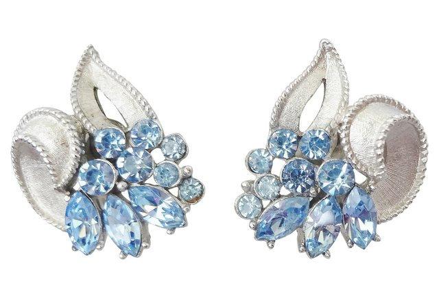 1960s Trifari Faux Aquamarine Rhinestone Earrings