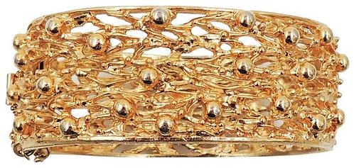 "Napier Modernist Goldtone ""Molten Metal"" Cuff Bracelet 1972"