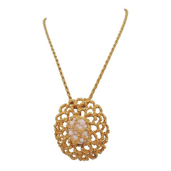 1960s Panetta Faux-Coral Detachable Brooch / Pendant Necklace